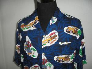 vintage-Hawaii-Hemd-hawaiihemd-Viskose-Woody-Oldtimer-shirt-surf-Gr-L