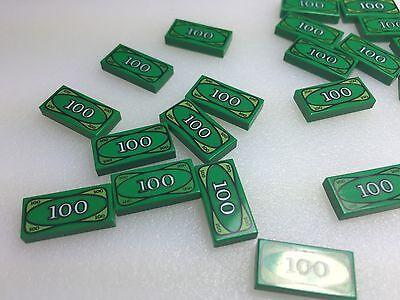 Lego 3069bpx7-2x ticket//tile 1x2 with 100 dollar bill money pattern-new