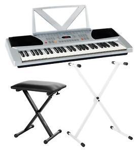 Digital-Keyboard-54-Tasten-E-Piano-Klavier-Sound-Rhythmen-Lernfunktion-weiss