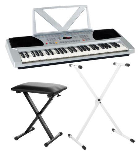 Digital Keyboard 54-Tasten E-Piano Klavier Sound Rhythmen Lernfunktion weiß