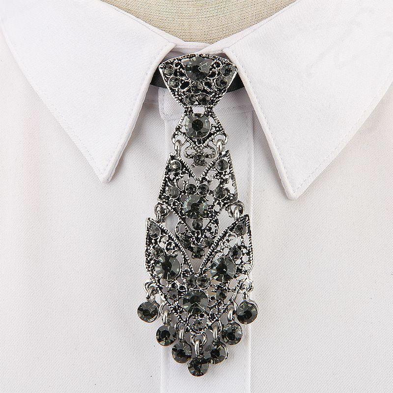 Fashion Luxury Tie Crystal Neckties Trendy General Korean Women Accessories 2020