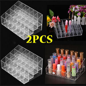 2X-24-Lipstick-Makeup-Stand-Display-Trapezoid-Holder-Case-Cosmetic-Organizer-QC