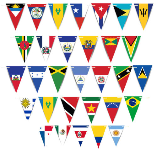 Latin American Countries World Flags Triangle Bunting Banner Decorations