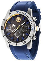 Timberland Men's Quartz Watch With Black Dial Analogue Display And Blue Silicone