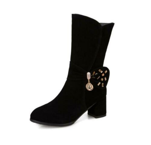 Details about  /Womens Fashion Faux Suede Round Toe Sequins Ankle Boots Pumps High Heels Shoes