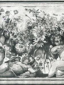 Details About Victorian Cherubs Angels Flowers In Black And White Wallpaper Border