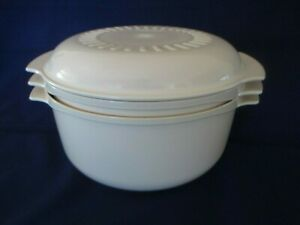 Vintage-TUPPERWARE-TUPPERWAVE-3-Pc-Almond-Stack-Cooker-Microwave-Set