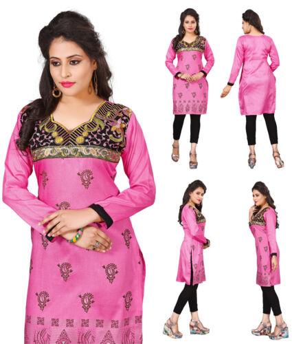 UK STOCK - Women Fashion Indian Short Kurti Tunic Kurta Top Shirt Dress ECCO13