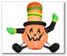 HALLOWEEN PUMPKIN WITH STRIPED HAT, ARMS AND LEGS NEW INFLATABLE BY GEMMY