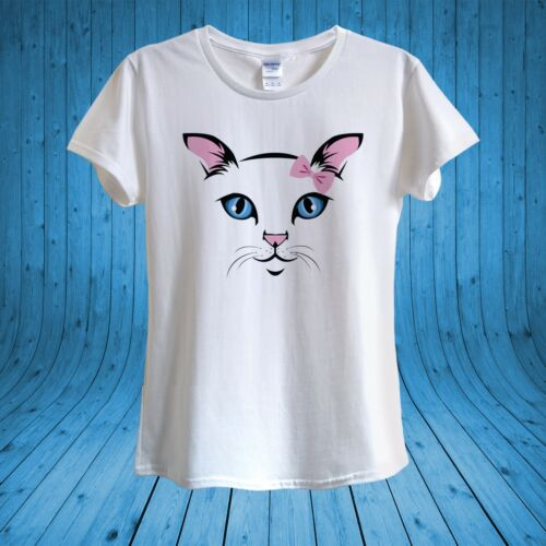 Cute Cat Pink Bow Kawaii Kitty Love Cats T­-shirt 100/% Cotton unisex women