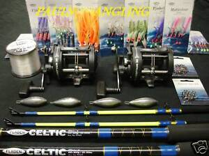 2-x-Fladen-Boat-Fishing-Rods-Reels-Tackle-Rigs-weights-amp-line-included
