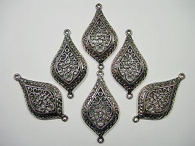 Antiqued Silver And Imitation Turquoise C1147-1 Filigree Pendant 2 Or 5PCs