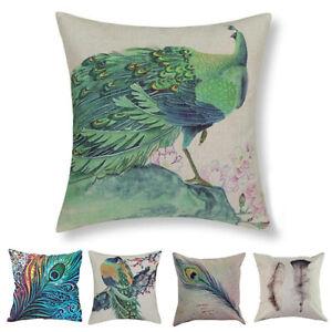 Am-BH-Fashion-Home-Decor-Sofa-Bed-Peacock-Square-Linen-Pillow-Case-Cushion-Cov