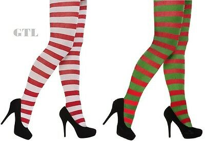 Women's, Striped, Red & Green, Red, White Tights Christmas Fancy Dress Accessory Clear-Cut-Textur