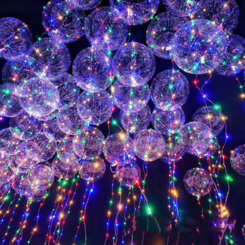 LED Light Bobo Balloon Transparent Wedding Birthday helium Party Decor Lamp//-//UK