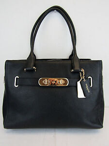 Coach New Black Leather with Gold Detaill Satchel CHN 70