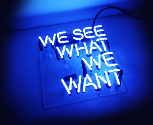 """/""""WE SEE WHAT WE WANT/"""" Beer Bar Pub Display Real Glass Neon Light Sign TN034"""