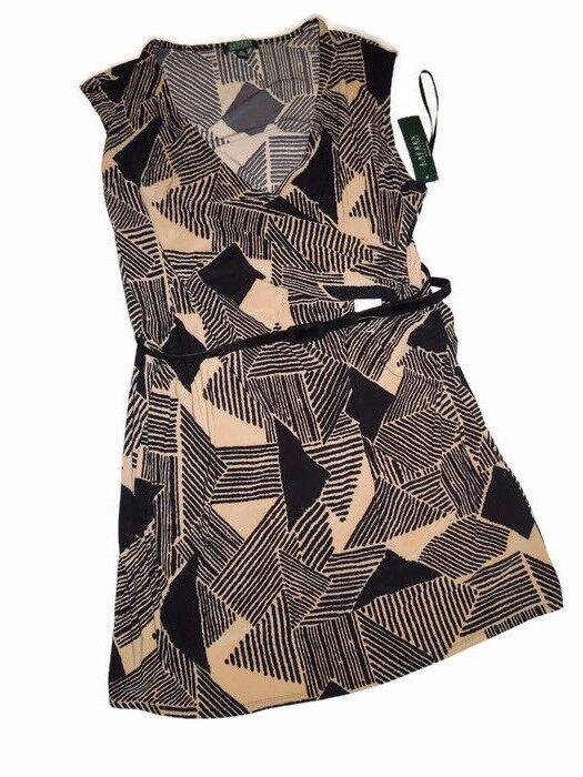 LAUREN Ralph Lauren schwarz tan khaki DRESS wrap Plus Größe 3X NEW
