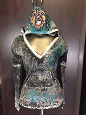 Women Ed Hardy Black Printed Jewelry Skull Long Sleeve Hoodie Shirt Top Size XS