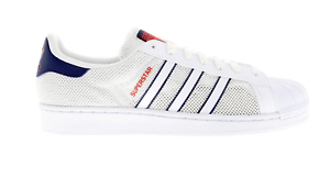premium selection cb460 4c9ff ... Hommes-Adidas-Superstar-Maille-Blanc-Textile-Baskets-Style-