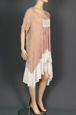 MAGNOLIA PEARL ROSE PINK EMBROIDERED SILK VINTAGE ANTIQUE LACE DRESS ONE SIZE!