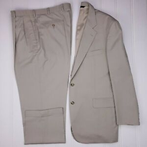 Brooks-Brothers-Tan-Suit-44L-Cotton-Blend-2-Button-Mens-Size-Long-Lined-Vented