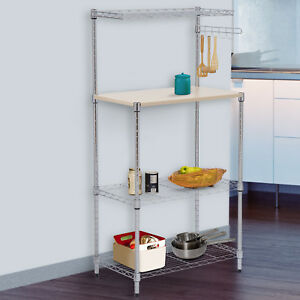 Details about 47\'\' 4-Tier Bakers Rack Kitchen Cart Microwave Stand Cutting  Board Workstation