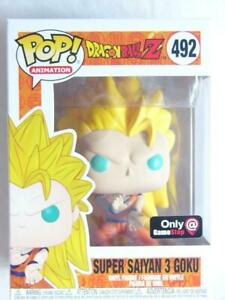 FUNKO-POP-VINYL-DRAGONBALL-Z-SS3-GOKU-492-GAME-STOP-EXCLUSIVE-with-PROTECTOR