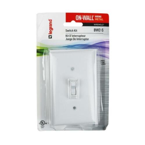 Legrand BW2-S Wiremold Metal Raceway Outlet Box w// Switch /& Faceplate White