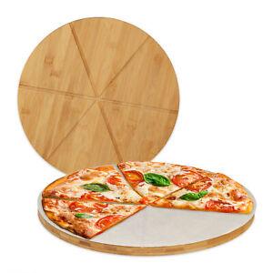 Pizzabrett Bambus 2er Set, Pizza Schneidebrett rund 33cm, Pizzateller Backpapier