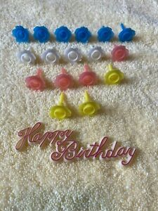 Groovy Lot Of 18 Vintage Birthday Cake Candle Holders Plastic Flowers Funny Birthday Cards Online Fluifree Goldxyz