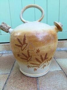 Ancienne-Jarre-a-huile-en-gres-1-anse-avec-bouchons-en-liege-deco-floral
