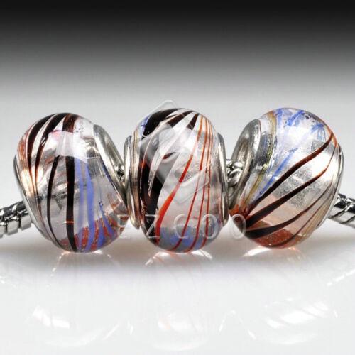 5//10pcs Murano Glass European Spacer Beads Lampwork Charm Fit Bracelet Chain LB3
