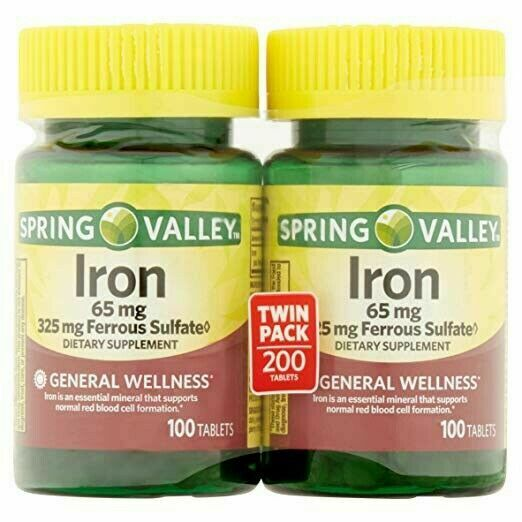 Spring Valley Iron 65mg & Ferrous Sulfate 325mg 100 Tablets