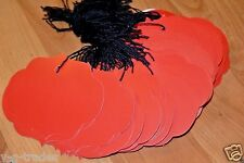 Lot 100 Large Ornate Crimson Red Merchandise Price Tags With String Strung