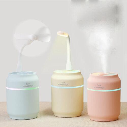 3-In-1 Mini Luftbefeuchter Ventilator Tischlampe Nebel  LED-Licht USB Lüfter