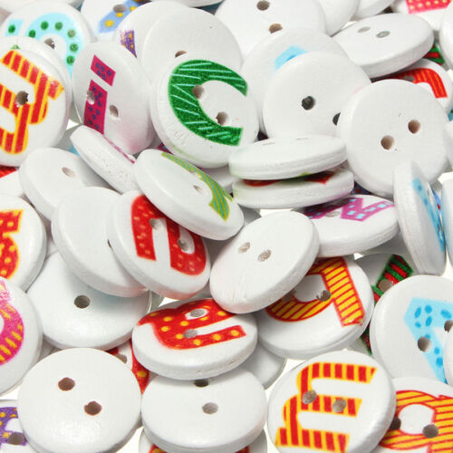 200Pcs Mixed letter Round Wooden Sewing Button Children Kids Scrapbooking 15mm