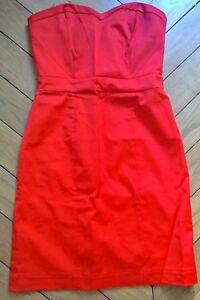 eee64a4ccea H M Robe bustier satin rouge   Taille S   36   Neuve