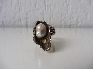 schoner-alter-Ring-925-Silber-mit-Perle