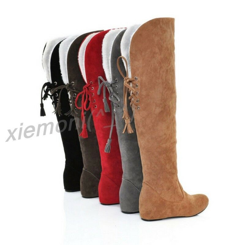 Womens Winter Knee High Boots Pull On Casual Flat Hidden Wedge Casual Snow shoes
