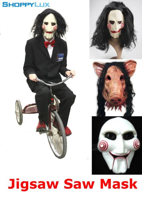 Creepy Billy Puppet Jigsaw Scary Movie Halloween Cosplay Mask Saw Latex  Costume