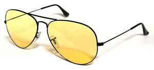 RAY-BAN-3025-62-AVIATOR-BLACK-NERO-YELLOW-GIALLO-AMBERMATIC-PERSONALIZZATO-REMIX