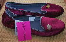 Betsey Johnson Slippers Faux Fur Velvet Silver Heart Logo NWT$34 Violet S 5/6