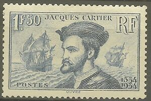 FRANCE-STAMP-TIMBRE-297-034-JACQUES-CARTIER-BATEAU-CANADA-1F50-034-NEUF-xx-TTB-B481