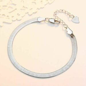 Damen-Armband-Silber-925-Armreif-Fusskettchen-Flach-Schlange-Silberkette-Geschenk