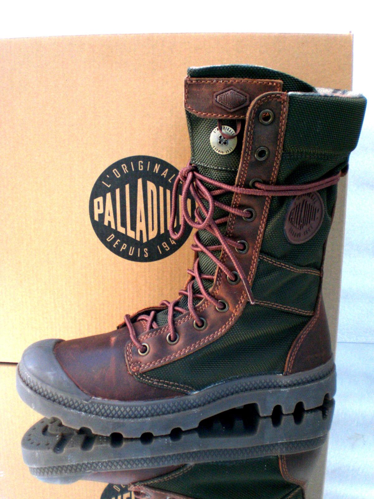 Palladium 92604203 señora invierno bote de cuero marrón Olive talla 39 UK 5,5 us7, 5 nuevo