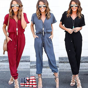 Women-Clubwear-Playsuit-Casual-Short-Sleeve-Party-Jumpsuit-amp-Romper-Trousers-Pants
