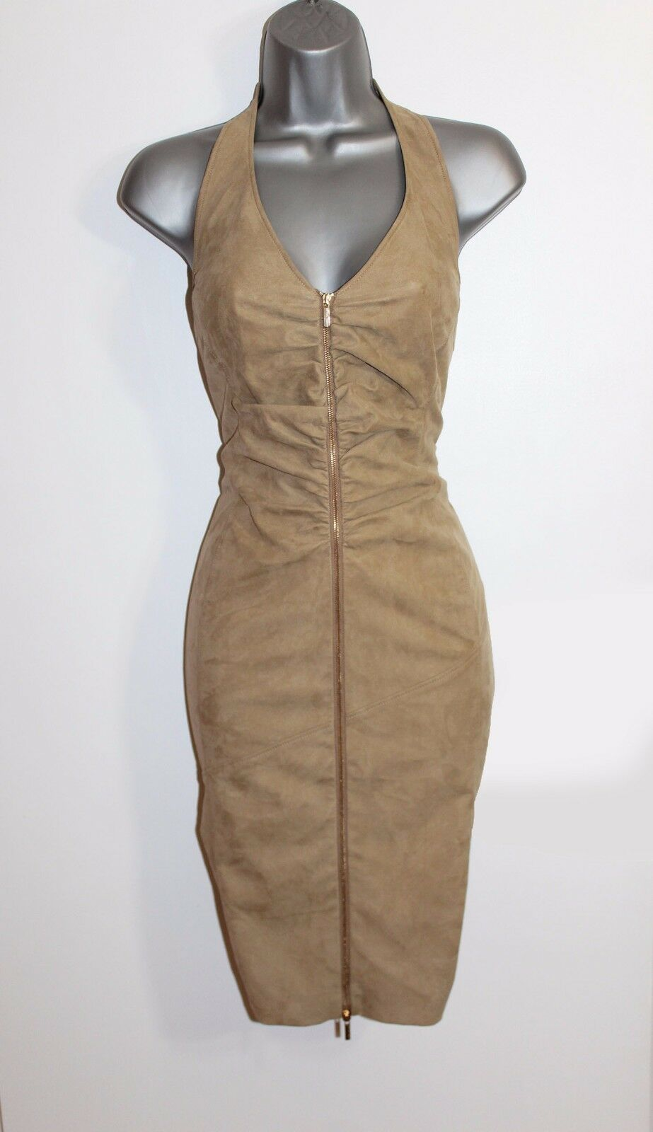 Karen Millen Nude Faux Suede Halterneck Pencil Casual Formal Formal Formal Dress UK12 EUE40 f73cda