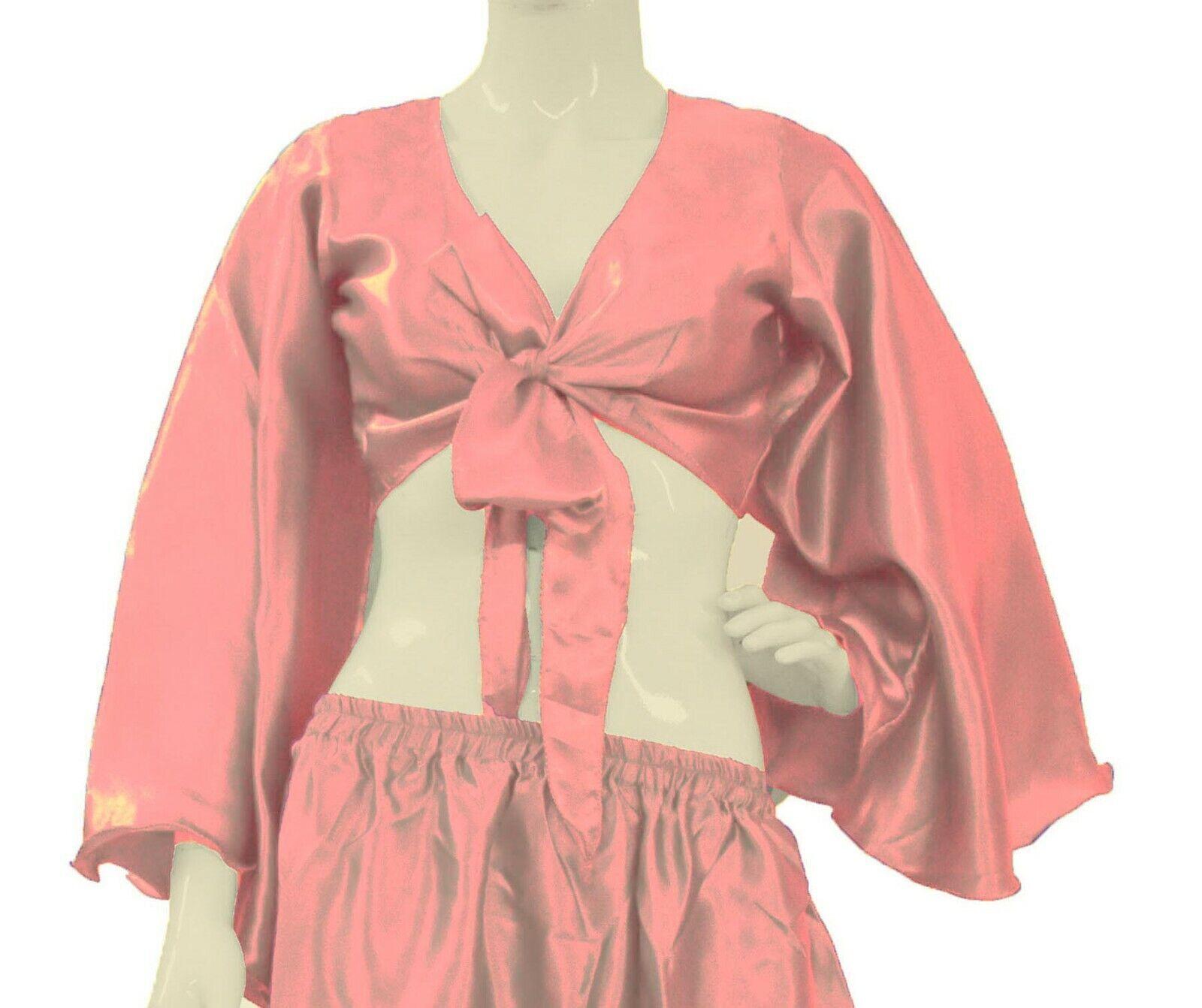 Bowknot Crop Top Ruffle Wrap Top Tie Salmon Color Belly Dance Wear S29