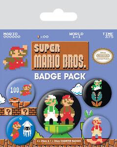 Super-Mario-Bros-Ansteck-Buttons-5er-Pack-NEU-amp-OVP